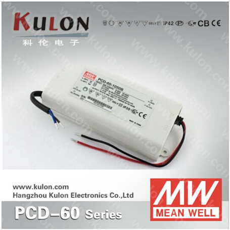 Genuine Meanwell PCD-60-1050B 60W 1050mA dimmable power supply with PFC for indoor led lighting<br>