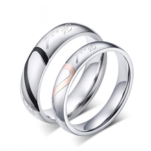 2016 Real Special Offer Lovers' Stainless Steel Metal Anillos Jewelry Bands Rings For Love Heart Stainless Steel