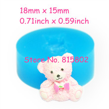 Free Shipping DYL215U Cute Bear Silicone Mold with Bow Cake Decoration Food Safe Gum Paste Soap Butter Sugar Nougat Mould