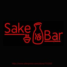 Red Sake Bar With Bottle Neon Sign For Bar Neon Bulbs Led Signs Real Glass Tube Recreation Room Restaurant Store Display 30x12