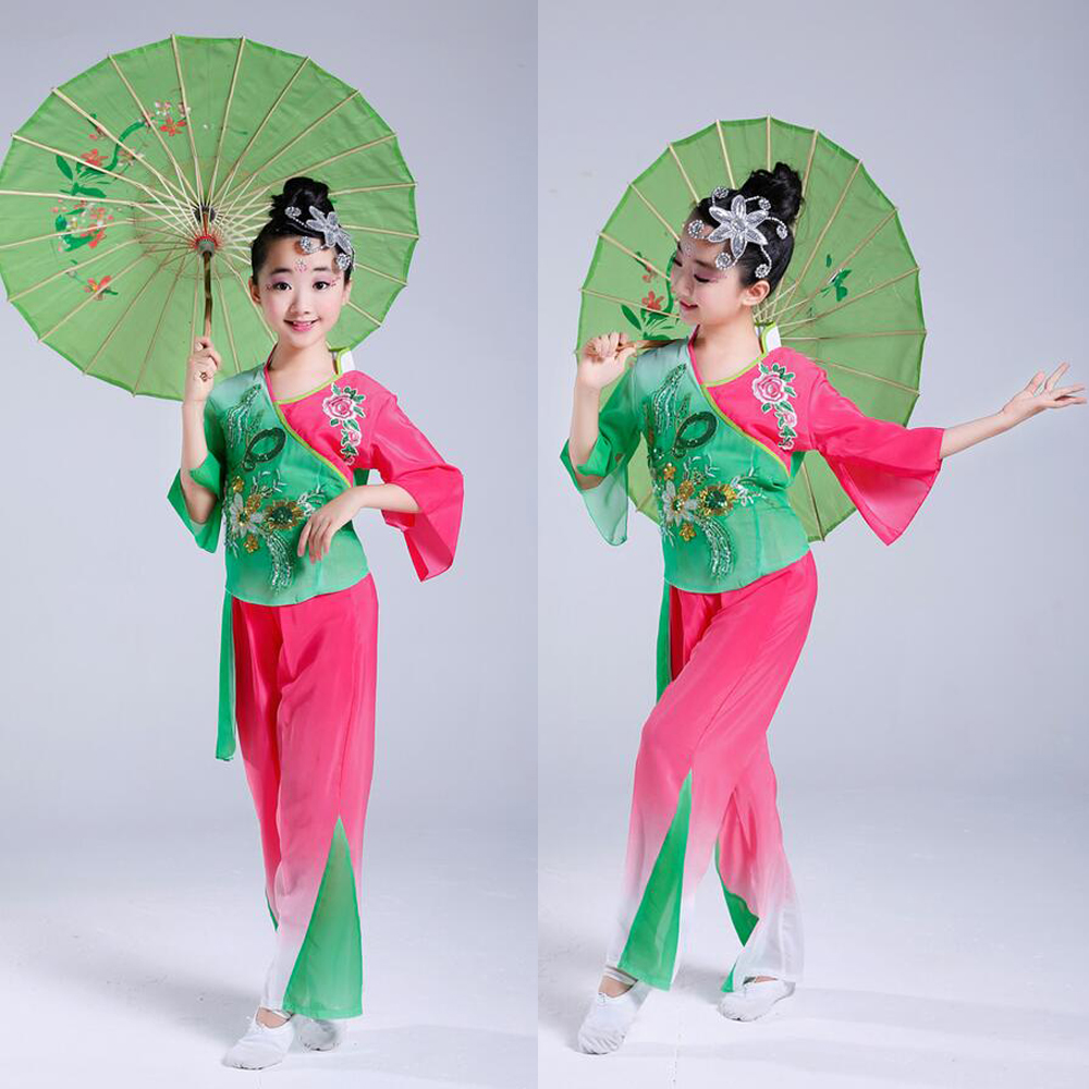 Green Child Chinese Folk Dance Costume Chinese National Yangko Dance Clothing for Kids Stage wear Performance Costumes Outfits