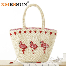 XMESSUN Brand 2017 New Embroidery Women's Hand Bag Large Straw Shoulder Bag Fashion Flamingo Beach Bags Big Tote Woven Bag L204(China)