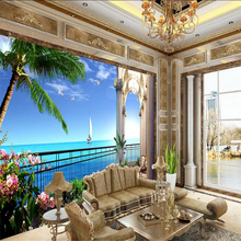 beibehang papel de parede Custom Photo Wallpaper Mural Wall Sticker HD Sea View Room Picture in 3D TV Backdrop wall paper(China)