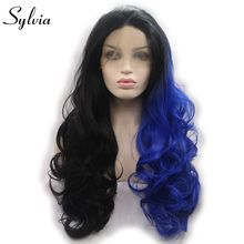 sylvia half black and half blue mixed 2Tombre body wave synthetic glueless lace front wigs black roots heat resistant fiber hair(China)