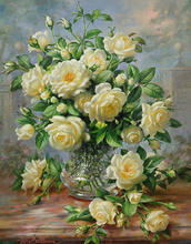 simple flower paintings Princess Diana Roses In A Cut Glass Vase still life art  hand painted High quality