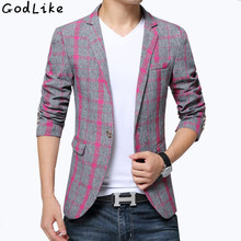 2017 Designer Suits For Male Plaid Blazer Cotton Mixed Casual Coat Slim Fit Male Clothing New Men's Blazers Suit Jackets