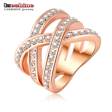 LZESHINE Fashion Summer Jewelry Punk Ring Rose Gold/Silver Color Austrian Crystals Women Rings Jewelry Bague Femme Ri-HQ0120
