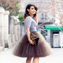 Free Shipping New 2016 Tutu Tulle Skirts Midi skirt Women Fashion Party Design saias femininas formal faldas cortas(China)