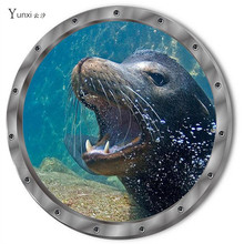 YunXi New 3D Cute Seabed Animal Sea Lion Sticker Bedroom Cabinet Bathroom Glass Background Decorative PVC Wall Stickers(China)