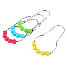 12pcs/set Stainless Steel&Acrylic Beads Ball Shower Curtain Hook Curtain Ring Bathroom Products(China)