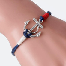2017 Rope Bracelets Women Men Retro Alloy Anchor Braided Rope Charm Silver Jewelry Leather Bracelet All-match Pulsera Wholesale