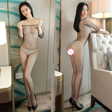 Buy Full Body Fishnet Crotchless Sheer Bodystocking Elegant Large Mesh Pantyhose Transparent Long-sleeve Open Crotch Tights Stocking