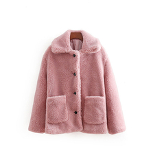 가을 Women 가짜 Lambswool Jacket Junior Girl Winter Warm Coat 빈티지 Outwear Camel 털이 Fully 여성스러운 Pink European 옷(China)