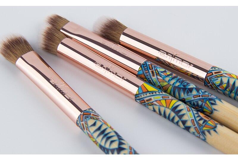 Anmor Sytnthetic Cheveux Ombre À Paupières Maquillage Pinceaux 8 pcs Bambou Cosmétique Brosses Manche En Bois Brosses Pour Le Maquillage Avec Noir sac 6