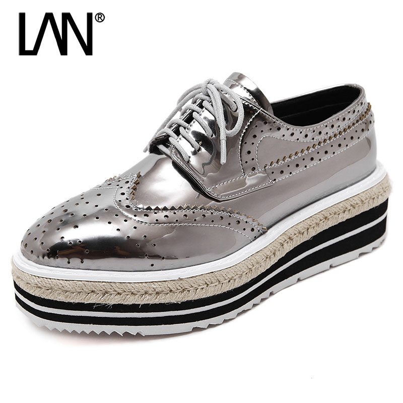 Fashion Spring Women Flats Lace Up Vintage Genuine Leather Women Loafers Autumn Creepers Casual Platform Flats Shoes size 35-40<br>