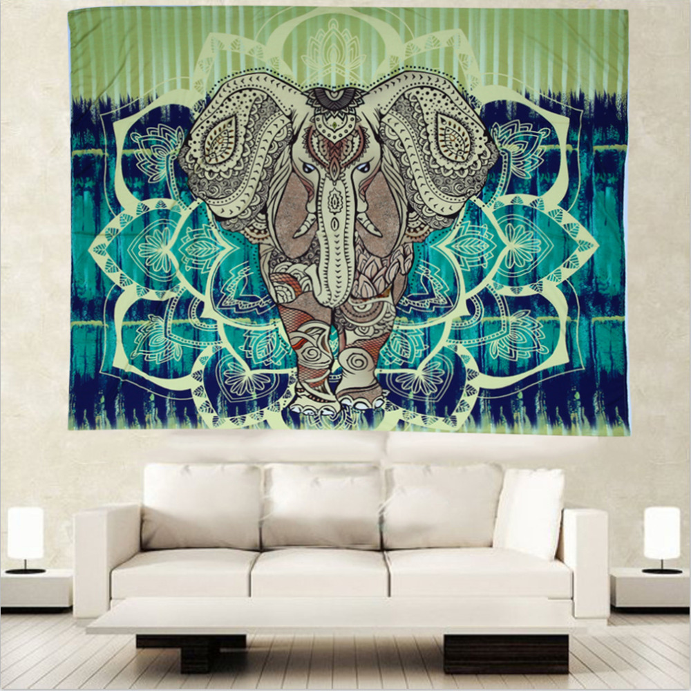 2pcs Hot Indian Bohemian Tapestry Elephant Peacock Boho Wall Hanging Carpet Bedspread Beach Picnic Blanket Pad 153x203cm<br><br>Aliexpress