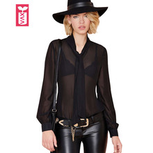 Drop Ship New Black Tie Decoration See-Through Blouse Womens Long Sleeve Transparent Shirts Girl Tops Tees Summer Hot Sexy