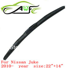 "auto car windshield wiper blade for Nissan Juke (2010 onwards), 22""+14"" Car Wipers Blades atural Rubber Wiper 2 PCS"
