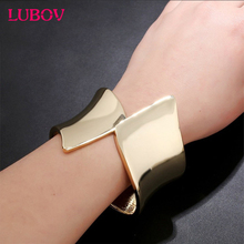 NewArrival Fashion Exaggerated Runway Brand Jewelry PUNK Hollow Metal Cube Three-Dimensional Hand Cuff Bangle Bracelet For Women(China)