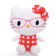 Cute  Red Pink Hot Pink Glasses Plaid Bow Plush Hello Kitty Cat Collection Anime Toy Doll 7'' With Window Sucker