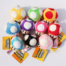 5pcs/lot Super Mario Toad Mushroom Plush Pendant Keychain With Tag Free Shipping