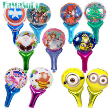 Cheap!5pcs/lot  50*30cm Cartoon Balloons Holding Sticks Foil Balloons Mini Funny Balloons Party Decoration Kids Party Decoration