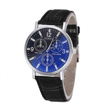 quartz watch Mens Luxury Crocodile Faux Leather Analog Blu-Ray Business Wrist Watches clock men relogios masculino best gift#A