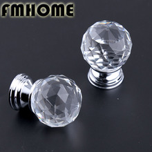 31mm modern simple fashion glass crsyal drawer tv table knobs pulls glass diamond head kitchen cabinet cupboard handes silver