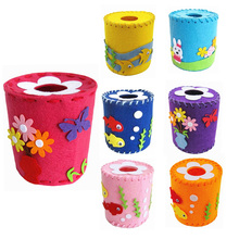 Colorful DIY 3D EVA Cloth Tissue Holder Box Handmade Handcraft Sewing Toy Puzzle Tissue Case Kids Child Craft Toy Kits(China)