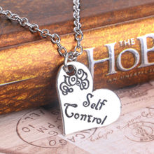 SELF CONTROL Heart Silver Plated Letter Words Pendant Necklace Fashion Pattern Simplicity Friends cute Gift Hot Sale