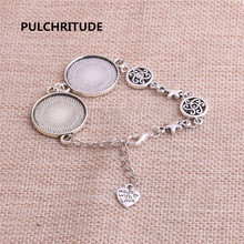 PULCHRITUDE 3pcs 22cm Alloy Antique Silver Chain Bracelet Hand Charm Round Cabochon base Setting Fit 22mm Dia Women Z0030