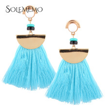 Exaggerate Women Ethnic Vintage Earrings Long Fringe Earrings Handmade Chinese Jewelry Big Tassel Earrings Blue E0196