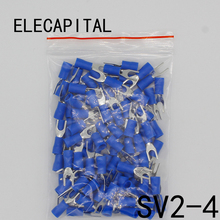 SV2-4 Blue Furcate Cable Wire Connector 100PCS/Pack Furcate Pre-Insulating Fork Spade 16~14AWG Wire Crimp Terminals SV2.5-4 SV(China)