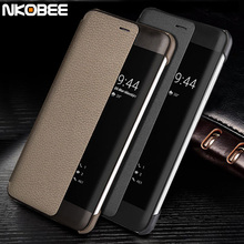 Huawei P10 Case Leather Flip NKOBEE Original Huawei P10 Phone Case Display Window Fundas Huawei P10 Plus Case Smart Cover Luxury