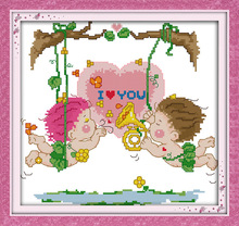 Love on a swing Printed Canvas DMC Counted Cross Stitch Kits printed Cross-stitch set Embroidery Needlework(China)