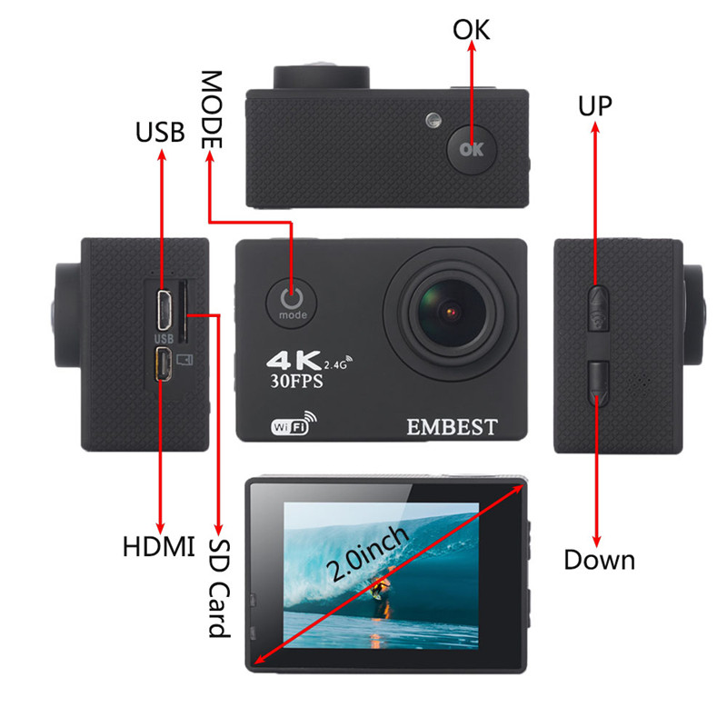 EMBEST 4K WIFI Sports Action Camera With Remote Control Ultra HD Waterproof Underwater 30M Camcorder 16MP 170 Degree Wide Angle 4