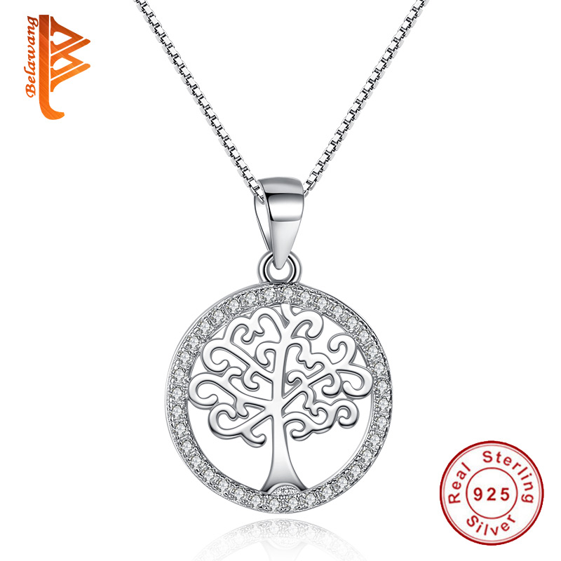 BELAWANG Luxury Tree Life Necklace & Pendant 925 Sterling Silver Ausrtrian Rhinestone Coin Jewelry Men/Women Accessories