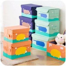 Environmental cartoon washable linen finishing storage box, covered children's clothing and toy storage box