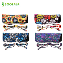 SOOLALA Womens Reading Glasses Spring Hinge Rectangular Printed Reading Glasses With Matching Pouch +1.0 1.5 1.75 2.25 to 4.0(China)