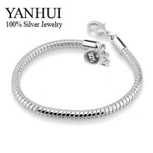 YANHUI 100% 925 Sterling Silver Bracelets Bangles For Women S925 Stamped 3mm Snake Bone Bracelet Fashion Silver Jewelry HB001