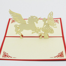 Cube life Unicorn Angel creative love fairy tale paper cut card stereo Card Valentine's Day cards