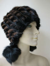 free shipping warm /Real fox balls and mink knitted woman's hat /see picture black he brown(China)