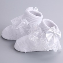 Baptism Party Solid White Newborn Baby Girl Socks;Ruffles Golden Flower Meias Infantil Warm Ankle Sock Chaussette Bebe Children(China)