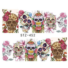 1 Sheet Halloween Skull Designs Decal Full Cover Nail Art Decorations Flowers Water Transfer Nails Stickers Slider JISTZ449-452