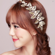 Hot Sale Vintage Gold Leaf Hair Accessories Bridal Headpieces Wedding Tiaras For Brides wedding accessories golden TS125(China)