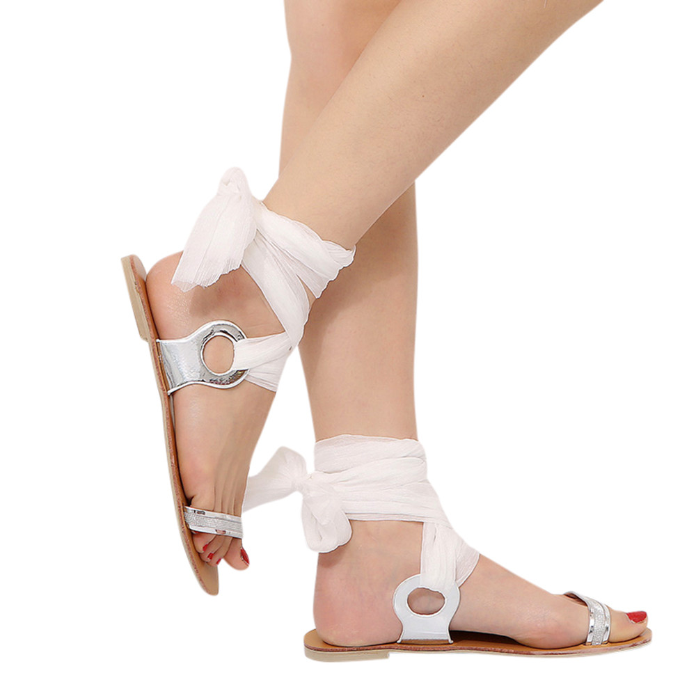 WOMENS WHITE LEATHER FLAT GLADIATOR SANDALS BUCKLE WALKING ANKLE SHOES SIZES 3-8