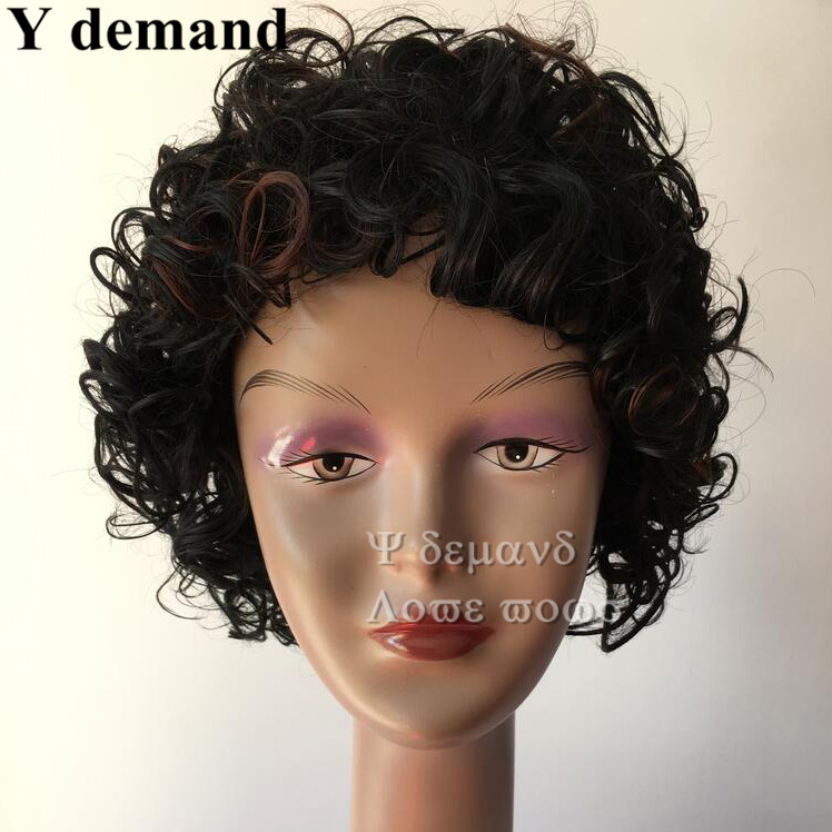 Good Quality short afro Kinky Curly Full wigs Synthetic wig for Black Women Perucas femininas kanekalon wigs with bangs<br><br>Aliexpress