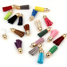 1pc Gold Color Leather Tassel Keychain Cellphone Straps Purses Backpacks Bag Charm Diy Earring Bracelet Pendant Jewelry Findings