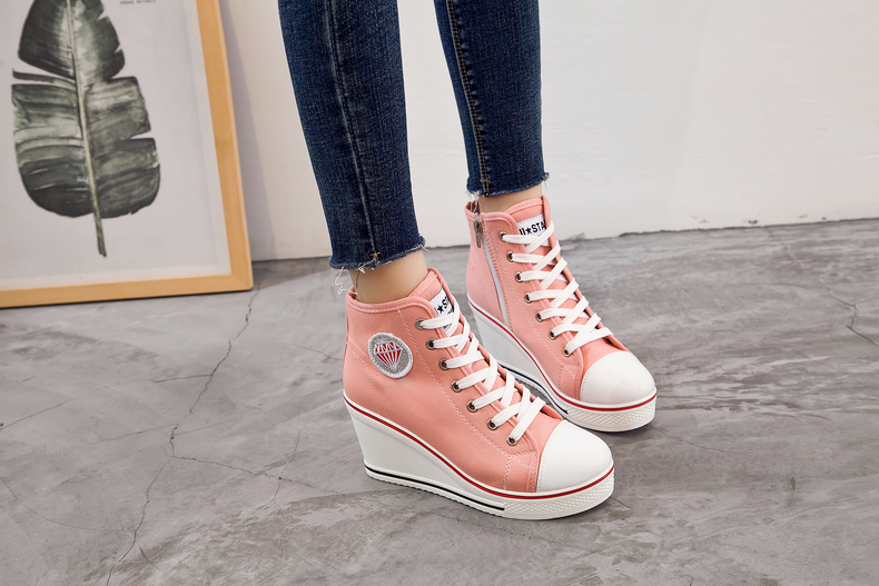 Women's Shoes Hidden Wedge Heel Shoes 18 Women Casual Shoes Canvas Sneakers High Top Breathable Platform Chaussure Femme 11