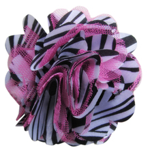 FBIL 10pcs/lot Chic Fabric Flowers for Headband Satin Mesh Rose Flowers 9cm Zebra Pink(China)